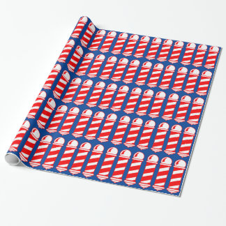 Red Barber Poles Wrapping Paper