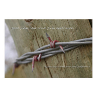 Red Barbwire fence experience Poster