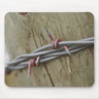 Red Barbwire fence Mouse Pad