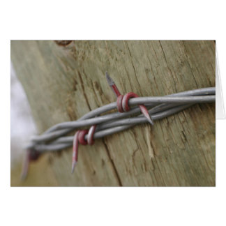 Red Barbwire fence photograph Card