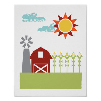 Red barn and corn illustrated art print