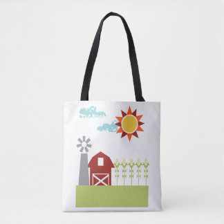 Red barn and corn illustrated tote bag