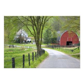 Red barn and farm house near Berlin, Ohio. Photo Art
