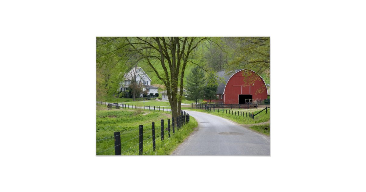 Red barn and farm house near berlin ohio poster zazzle