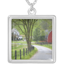 Red barn and farm house near Berlin, Ohio. Silver Plated Necklace