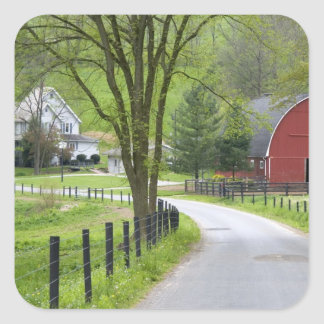 Red barn and farm house near Berlin, Ohio. Square Sticker
