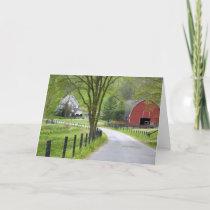 Red barn and farm nearby Berlin, Ohio. Card