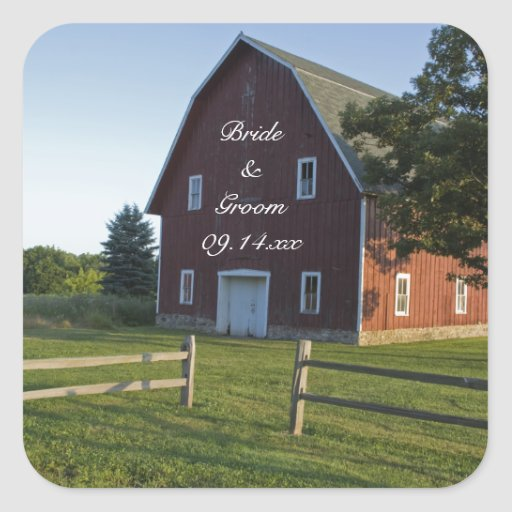 Red Barn and Fence Country Wedding Envelope Seals Square Sticker