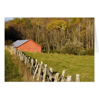 Red barn and fencerow along the Blue ridge Greeting Card