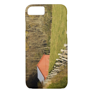 Red barn and fencerow along the Blue ridge iPhone 7 Case