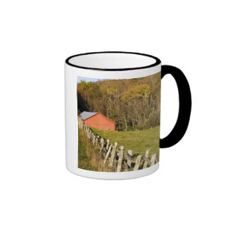 Red barn and fencerow along the Blue ridge Mugs