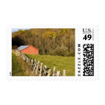 Red barn and fencerow along the Blue ridge Postage Stamp