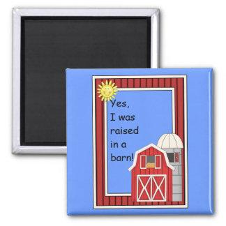 Red Barn and Grain Silo - Farmyard Barnyard - Kids 2 Inch Square Magnet