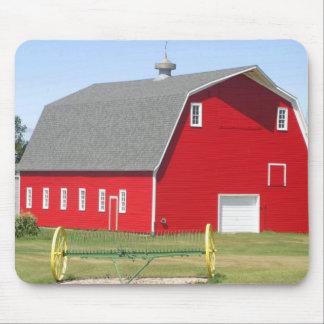 Red barn and hay rake mouse pad