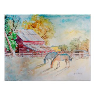 Red Barn and Horses in Pasture