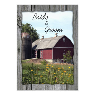 Red Barn and Silo Country Wedding 5x7 Paper Invitation Card