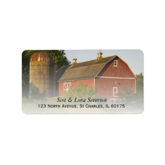 Red Barn and Silo Label