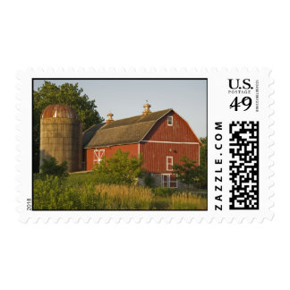 Red Barn and Silo Postage
