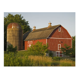 Red Barn and Silo Postcard