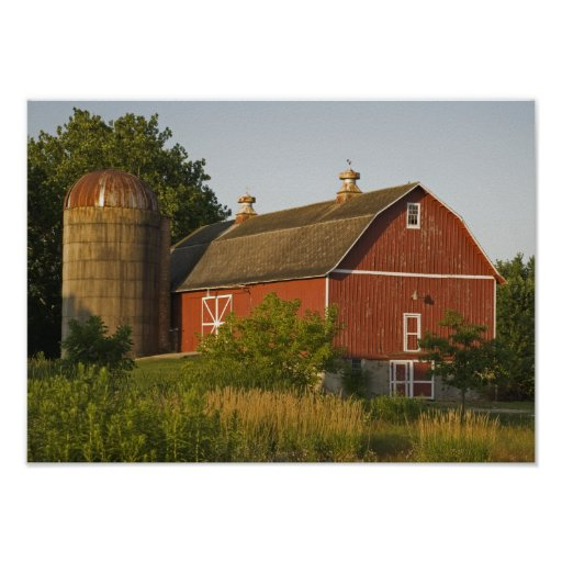 Red Barn and Silo Poster