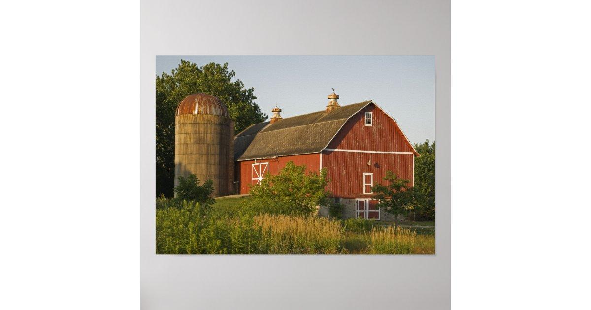 Red Barn and Silo Poster | Zazzle.com