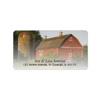 Red Barn And Silo Return Address Labels