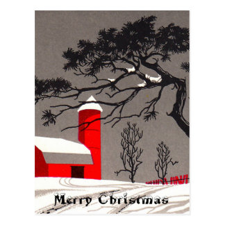 Red Barn and Silo Snow Covered Black Trees Postcard