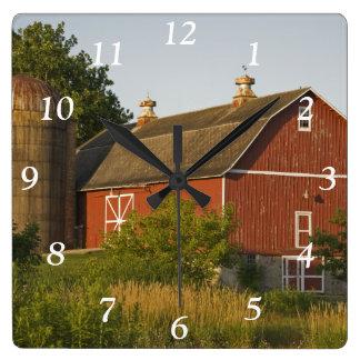 Red Barn and Silo Square Clock