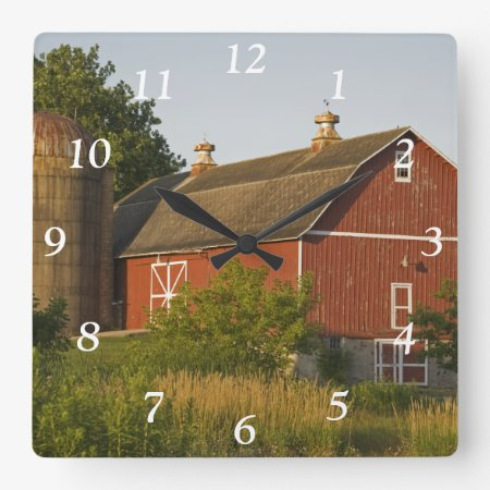 Red Barn And Silo Square Clock