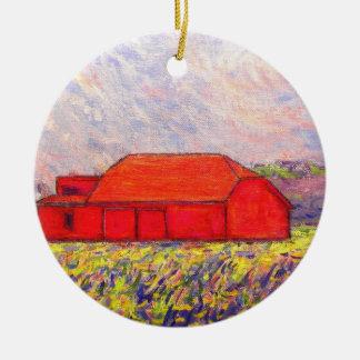 red barn and wild purple iris ceramic ornament