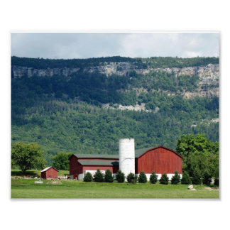 Red Barn at Mountain Base Photographic Print