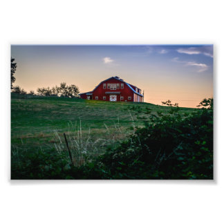 Red Barn at Sunset Photographic Print