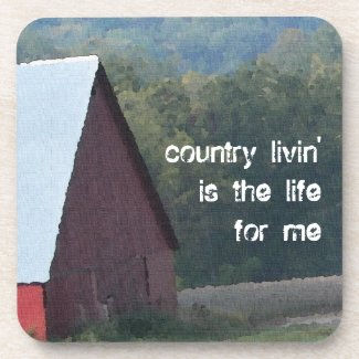 Red Barn Autumn Trees Drink Coasters