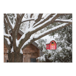 Red barn birdhouse on tree in winter card