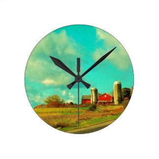 red Barn Blue Sky Wall Clock