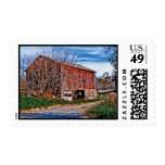 Red Barn. Blue Sky. Postage Stamps