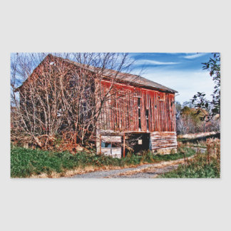 Red Barn. Blue Sky. Rectangular Sticker