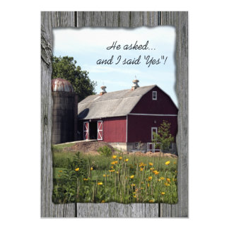 Red Barn Country Engagement Party Invitation