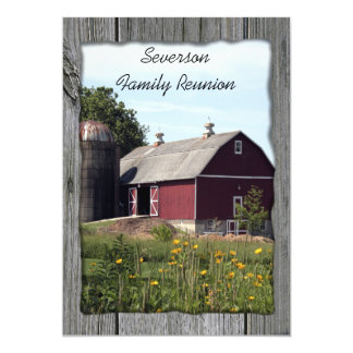 "Red Barn Country Family Reunion Invitation 5"" X 7"" Invitation Card"