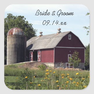 Red Barn Country Wedding Envelope Seals Square Sticker