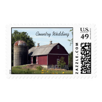 Red Barn Country Wedding Postage Stamp