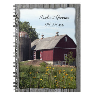 Red Barn Country Wedding Spiral Notebook