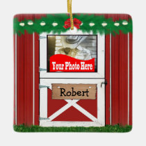 Red Barn Custom 2 Photo Christmas Ornament