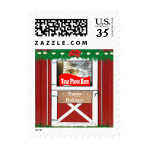 Red Barn Custom Photo Holiday Postage Stamps