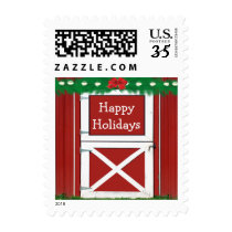 Red Barn Custom Text Holiday Postage Stamps