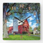 Red Barn Decor Personalized Wall Clocks