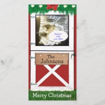 Red Barn Door Custom 1 Photo Holiday Card