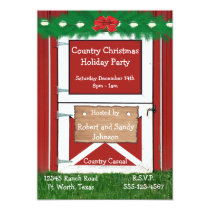 Red Barn Door Custom  Holiday Party Invitation