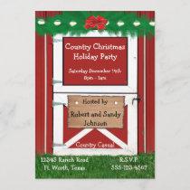 Red Barn Door Custom  Holiday Party Invitation