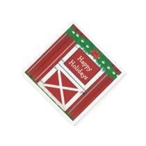 Red Barn Door Custom Holiday Party Napkins #2